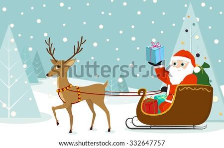 cute reindeer pulling santa