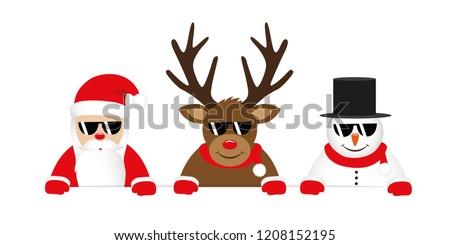 cute reindeer santa claus and