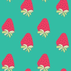 Cute Repeating Strawberry Vector Pattern.