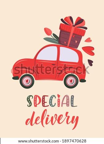 cute retro car delivering gift