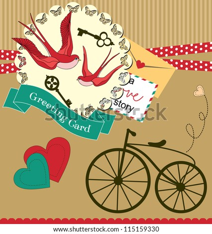 cute retro card with swallow. vector illustration
