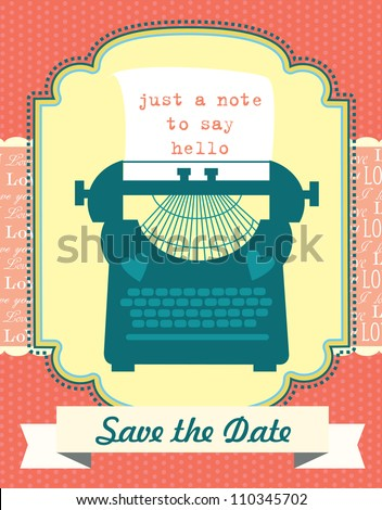 cute retro card with typewriter. vector illustration