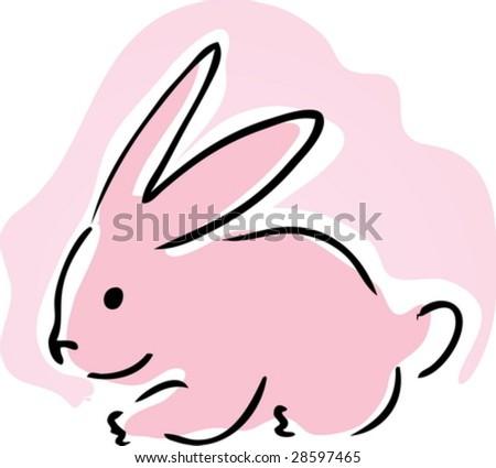 Cute retro cartoon illustration of a pink bunny rabbit