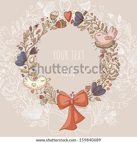 cute retro flower wreath with