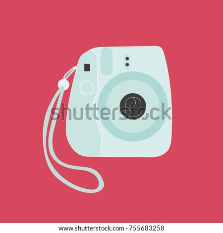 Cute retro instant camera.  Pop art vector illustration.