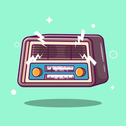 Cute retro radio vector illustration. Radio cartoon vector on isometric flat design style. Music nostalgia with old 60s style song player. Radio broadcasting mascot.