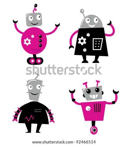 Cute retro robots set isolated on white ( pink and black )