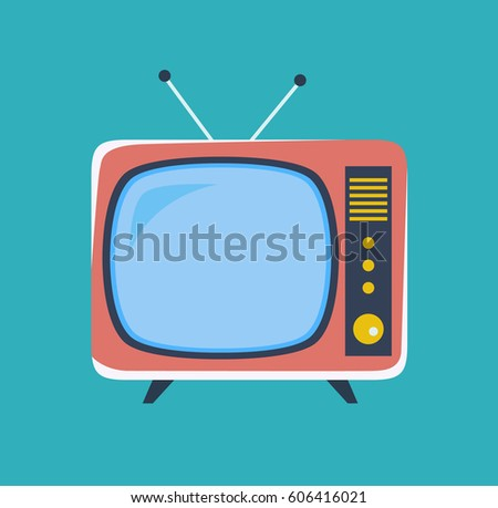 Cute retro tv. Old tv in cartoon style. Vector stock.