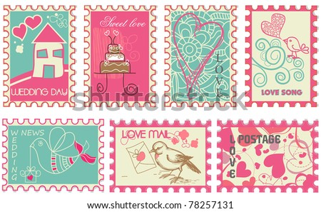 Cute retro wedding stamps