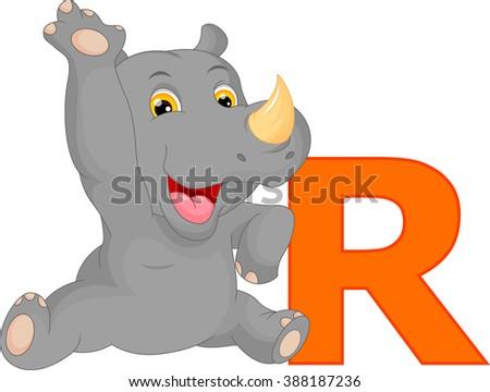 cute rhino cartoon and letter R Stock fotó ©
