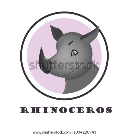 Cute rhinoceros Face Emoticon Emoji Expression Illustration. Great for logotype, badge and icon, card, invitation, poster, banner template.