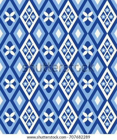 Cute rhombus seamless pattern in danish style. Vector Illustration.