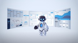 cute robot analyzing statistics financial data on virtual boards artificial intelligence technology concept