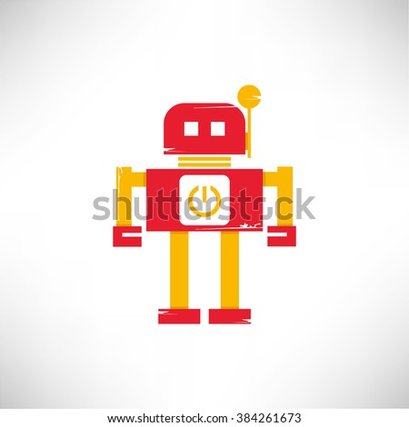 cute robot icon  retro robot