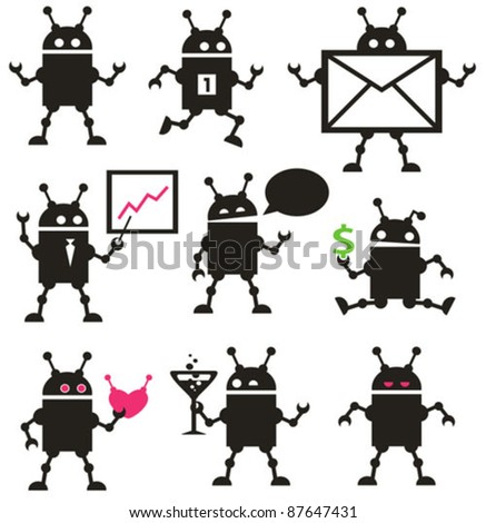 cute robot icons black and