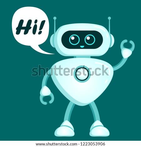 cute robot say hi chatbot icon