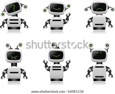 Cute Robot Set - Vector
