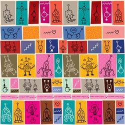 cute robots collage cartoon doodle pattern