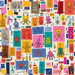 cute robots collage cartoon retro doodle pattern