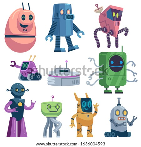 Cute robots. Colorful futuristic robotic computer toys, robot transformer, modern technology android assistant guardian cartoon energy machines vector set