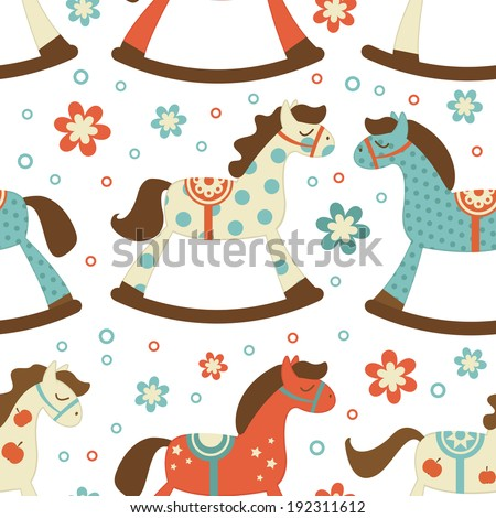 Cute rocking horses seamless background