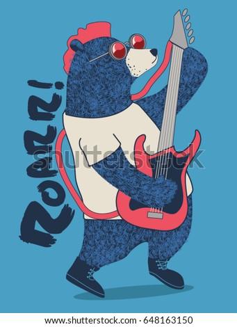 cute rockstar bear playing