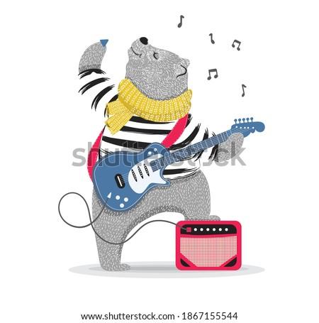 Cute rockstar bear playing guitar.Can be used for t-shirt print, kids wear fashion design, baby shower invitation card.Animal pattern. Сток-фото ©