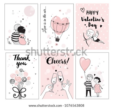 Cute romantic card set, vector illustration, perfect for posters and greeting cards, hand drawn illustration.