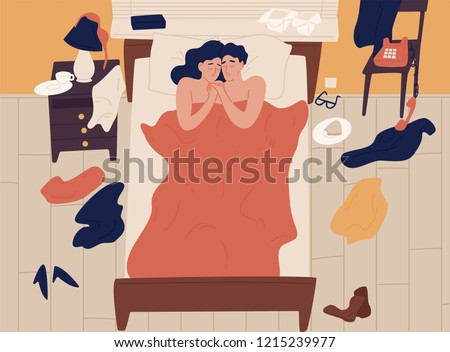 Cute romantic couple lying in bed together after sex and cuddling, clothes scattered around. Intimate or sexual relationship of young man and woman. Colorful vector illustration in flat cartoon style.