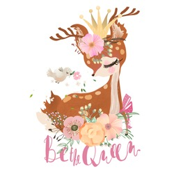 Cute, romantic, dreaming baby princess, deer, fawn with floral wreath, crown, bird and flowers bouquet