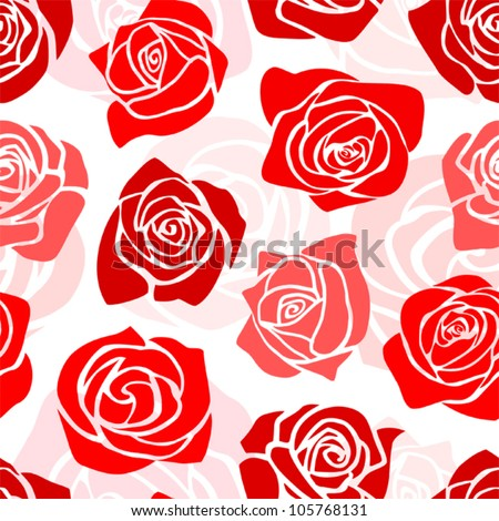 Cute romantic floral pattern with romantic red roses on a light background.