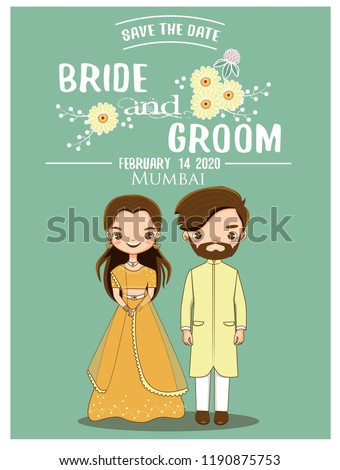 cute romantic indian couple in traditional dress for wedding invitations card, vector isolated with background