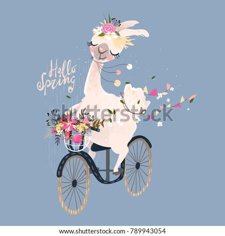 cute romantic llama  alpaca...