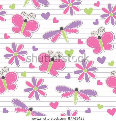 cute romantic seamless pattern