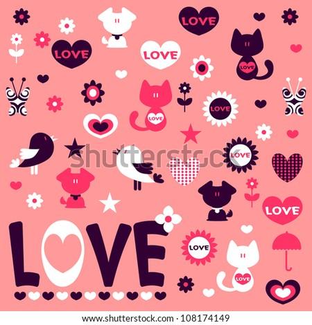 Cute romantic stickers design elements