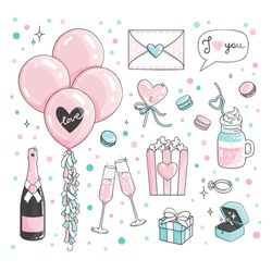 Cute romantic Stickers Set For Valentine's Day dating. Set of dating items. Engagement ring, champagne, pink baloons, popcorn pack, postcard in letter, macaroons, heart lollypop, sweets