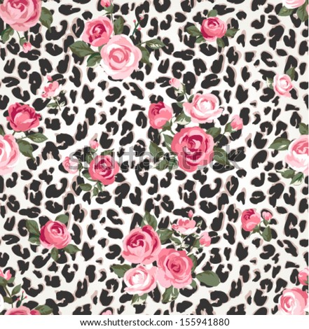 cute rose seamless mix leopard vector pattern background - stock vector