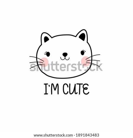 cute rosy kitten in graphics