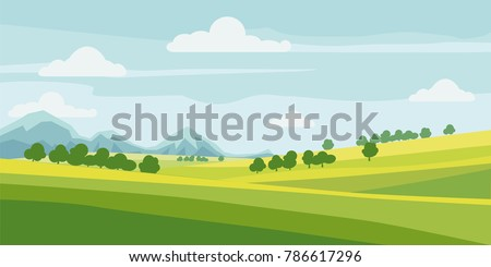 cute rural landscape tree
