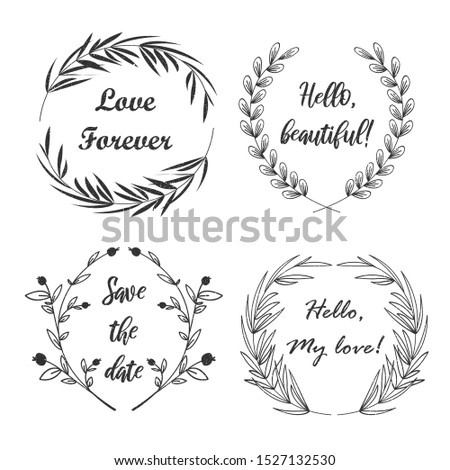 Cute rustic vector frames. Rustic wreath elements for your text. Logo. Shabby texture.