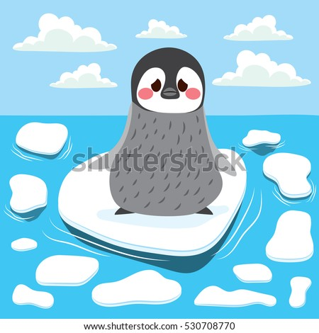 cute sad baby penguin lost