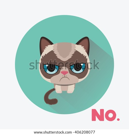 cute sad grumpy cat in material
