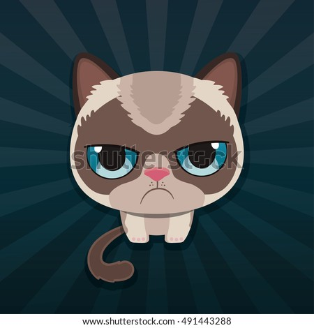 cute sad grumpy cat vector