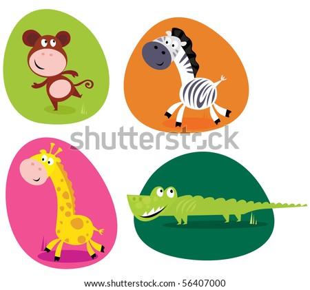 Cute safari animals set - monkey, zebra, giraffe and crocodile Vector Illustration of four cute wild animals buttons - monkey, zebra, giraffe and crocodile.