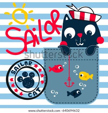 cute sailor cat holding an