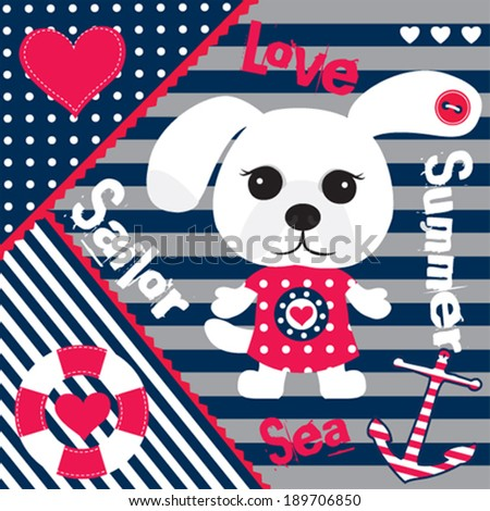 cute sailor dog striped background vector illustration