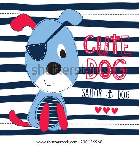 cute sailor dog vector
