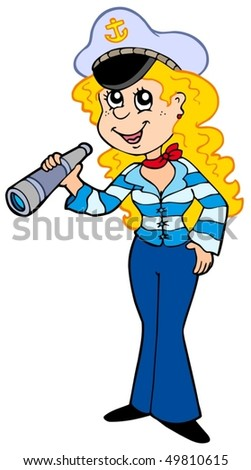 Cute sailor girl - vector illustration.