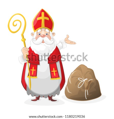 Cute Saint Nicholas cartoon character with gift bag on the floor