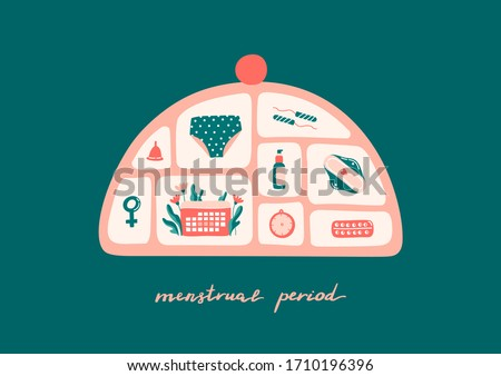 Cute sanitary products inside cosmetic bag. Panties, hygiene pad, menstrual cup, tampons, hormone pills, calendar. Lettering menstrual period. Hand drawn vector illustration on colorful background.